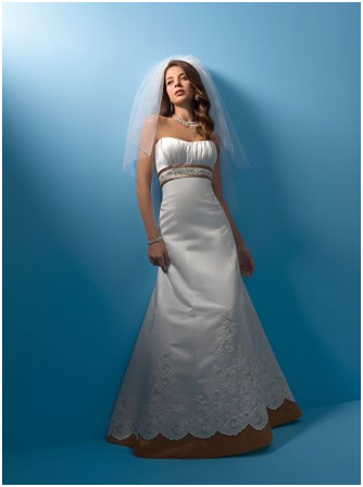 Alfred Angelo Brand New Wedding Dress Style 2105 Size 10 Color Ivory Marine Blue